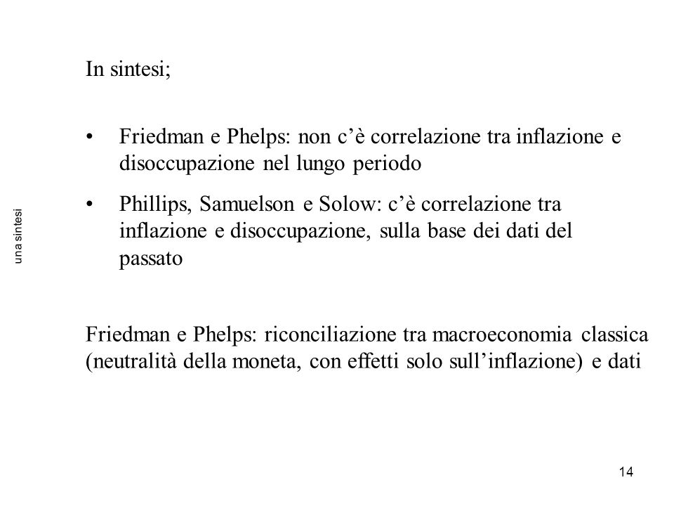 In sintesi; Friedman e Phelps: non c'è correlazione tra inflazione e disoccupazione nel lungo periodo.