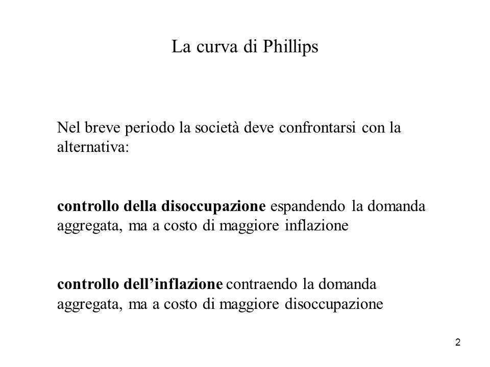 La curva di Phillips Nel breve periodo la società deve confrontarsi con la alternativa: