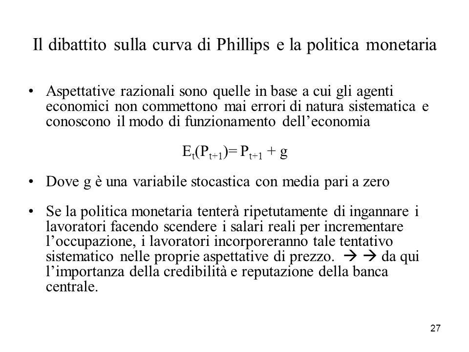 Il dibattito sulla curva di Phillips e la politica monetaria