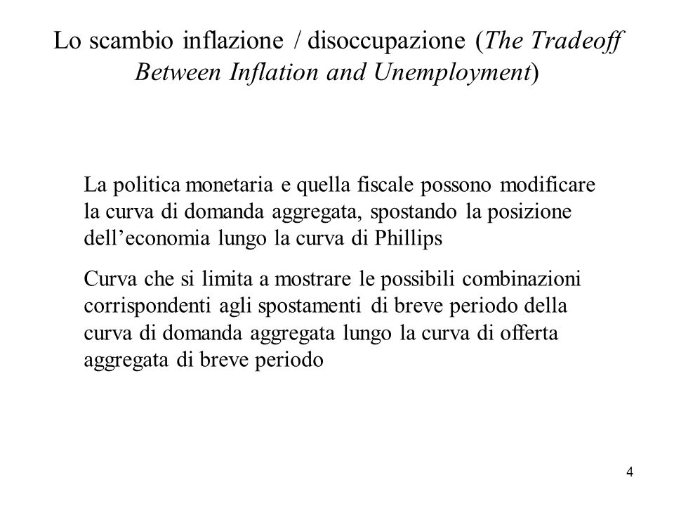 Lo scambio inflazione / disoccupazione (The Tradeoff Between Inflation and Unemployment)