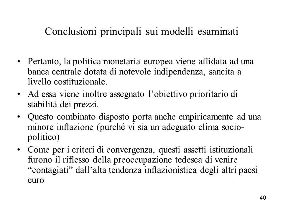 Conclusioni principali sui modelli esaminati