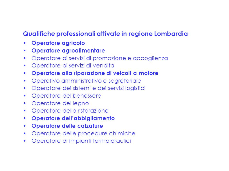 Qualifiche professionali attivate in regione Lombardia