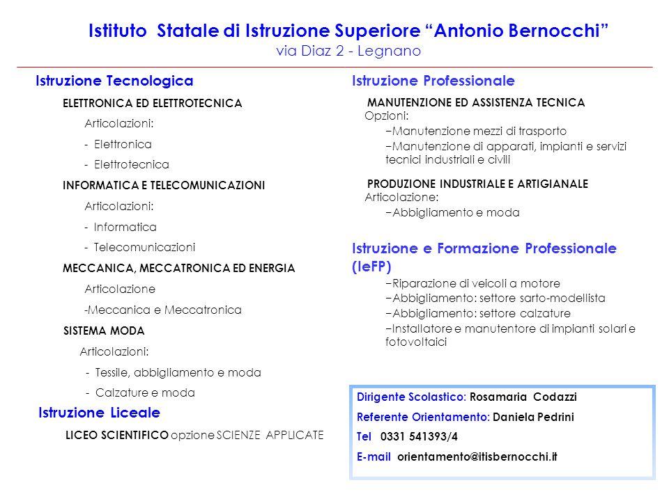 Istituto Statale di Istruzione Superiore Antonio Bernocchi via Diaz 2 - Legnano