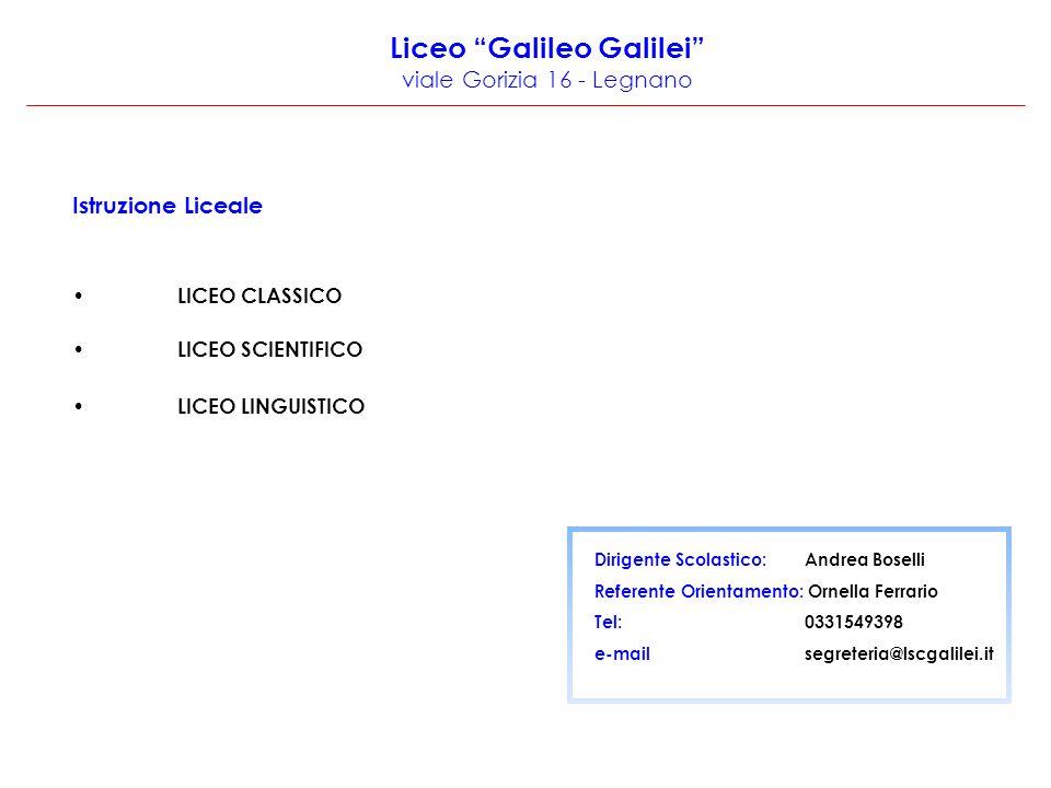 Liceo Galileo Galilei viale Gorizia 16 - Legnano
