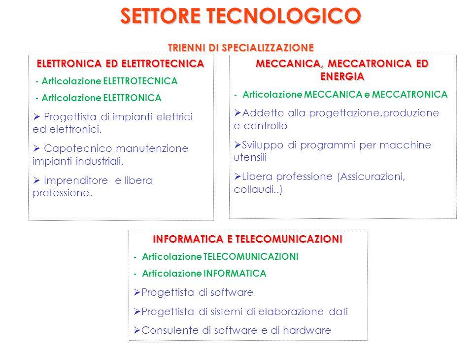 SETTORE TECNOLOGICO TRIENNI DI SPECIALIZZAZIONE