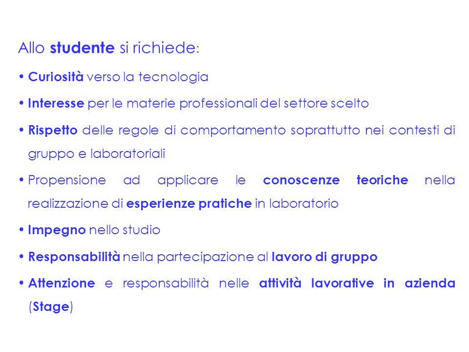 Allo studente si richiede: