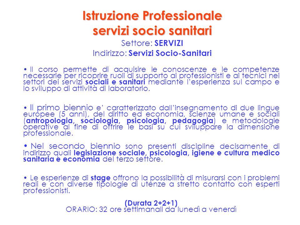 Istruzione Professionale servizi socio sanitari