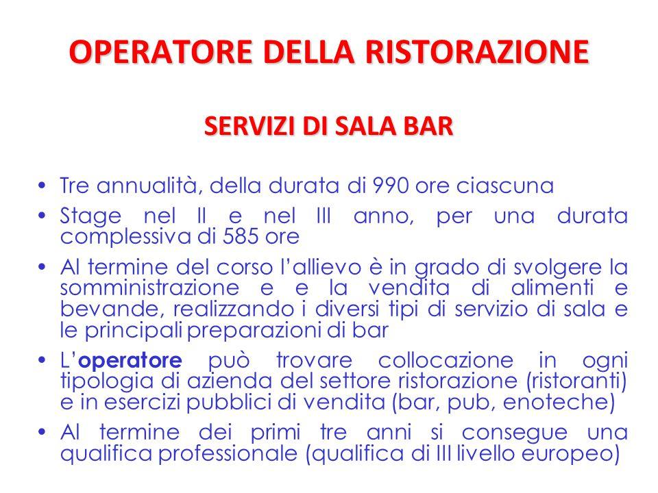 OPERATORE DELLA RISTORAZIONE SERVIZI DI SALA BAR