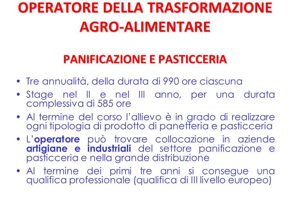 OPERATORE DELLA TRASFORMAZIONE AGRO-ALIMENTARE PANIFICAZIONE E PASTICCERIA