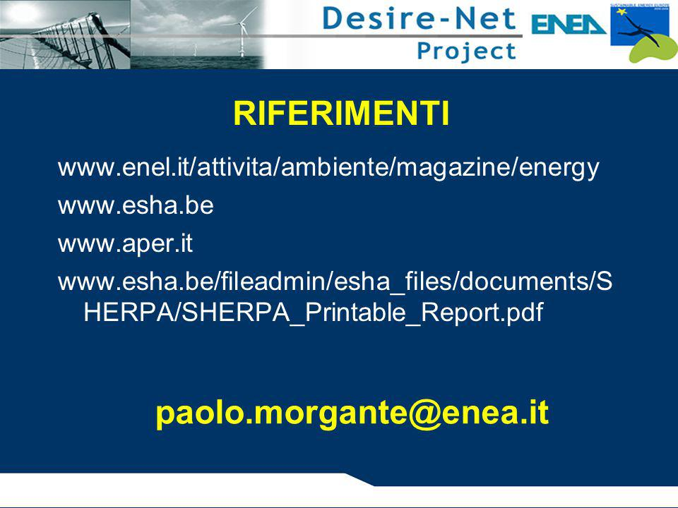 RIFERIMENTI paolo.morgante@enea.it