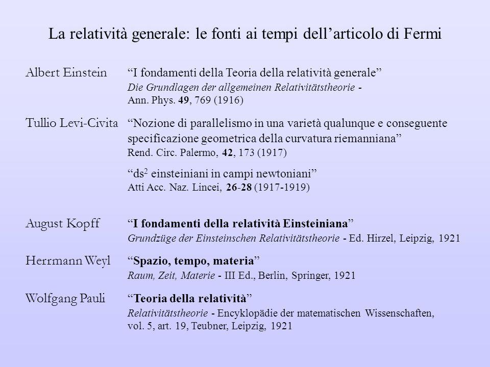 La relatività generale: le fonti ai tempi dell'articolo di Fermi