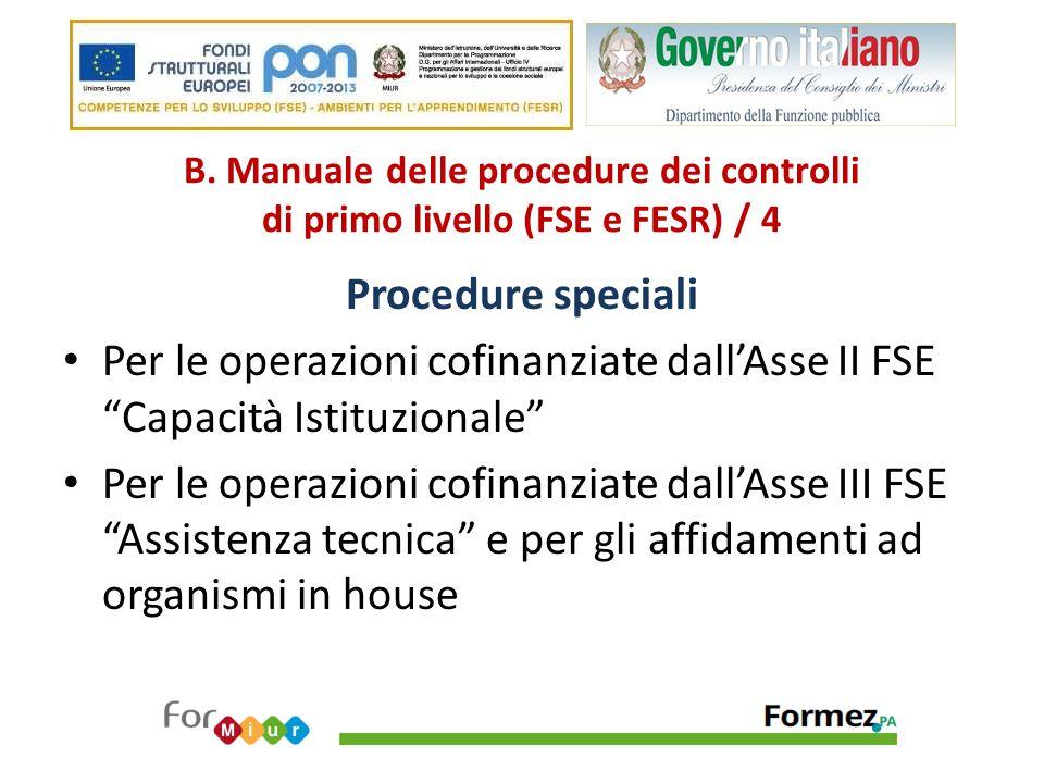 B. Manuale delle procedure dei controlli di primo livello (FSE e FESR) / 4