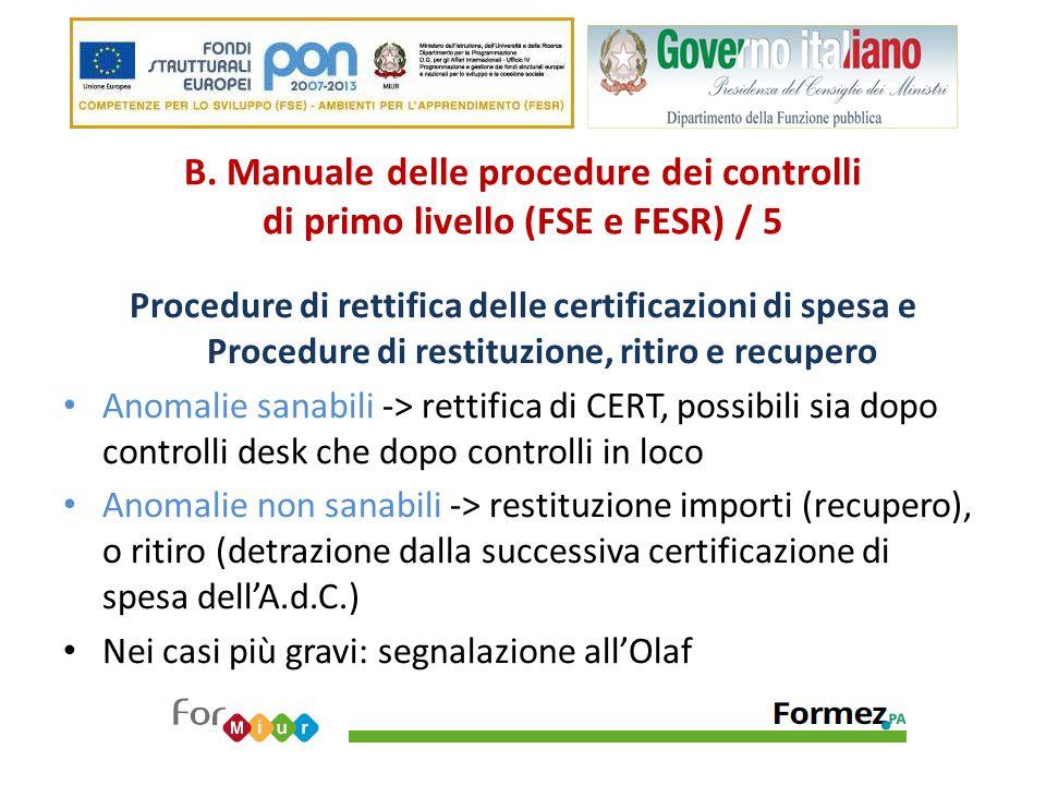 B. Manuale delle procedure dei controlli di primo livello (FSE e FESR) / 5
