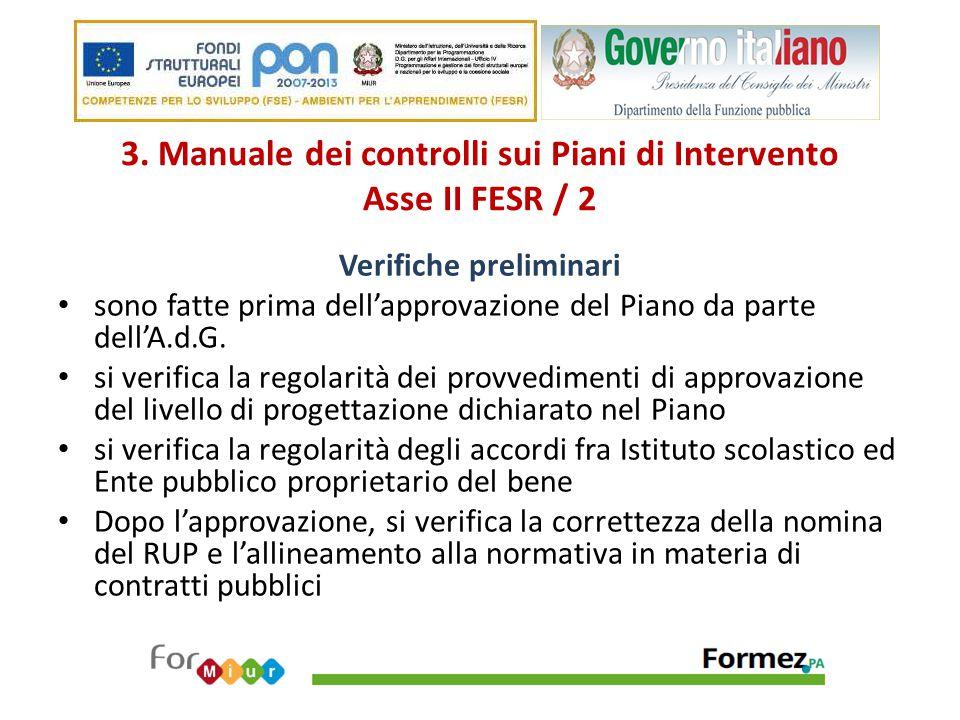 3. Manuale dei controlli sui Piani di Intervento Asse II FESR / 2