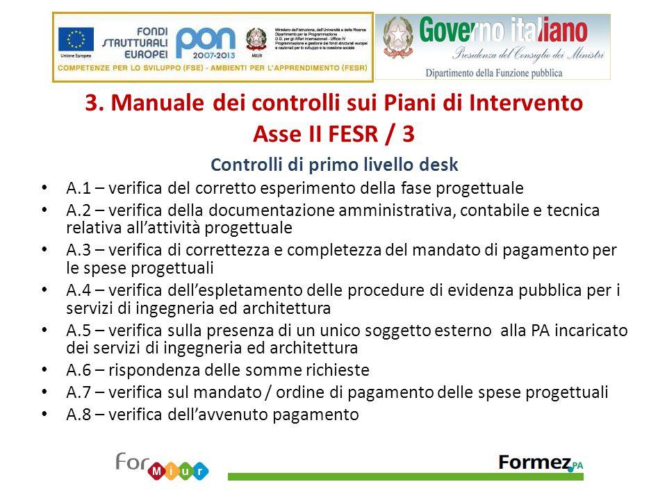 3. Manuale dei controlli sui Piani di Intervento Asse II FESR / 3