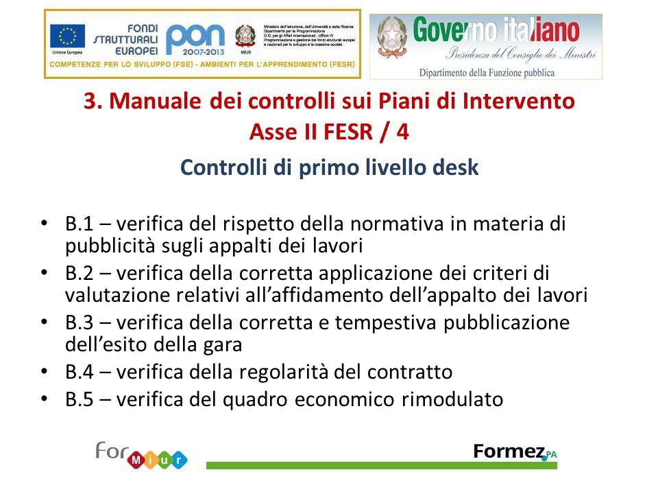 3. Manuale dei controlli sui Piani di Intervento Asse II FESR / 4