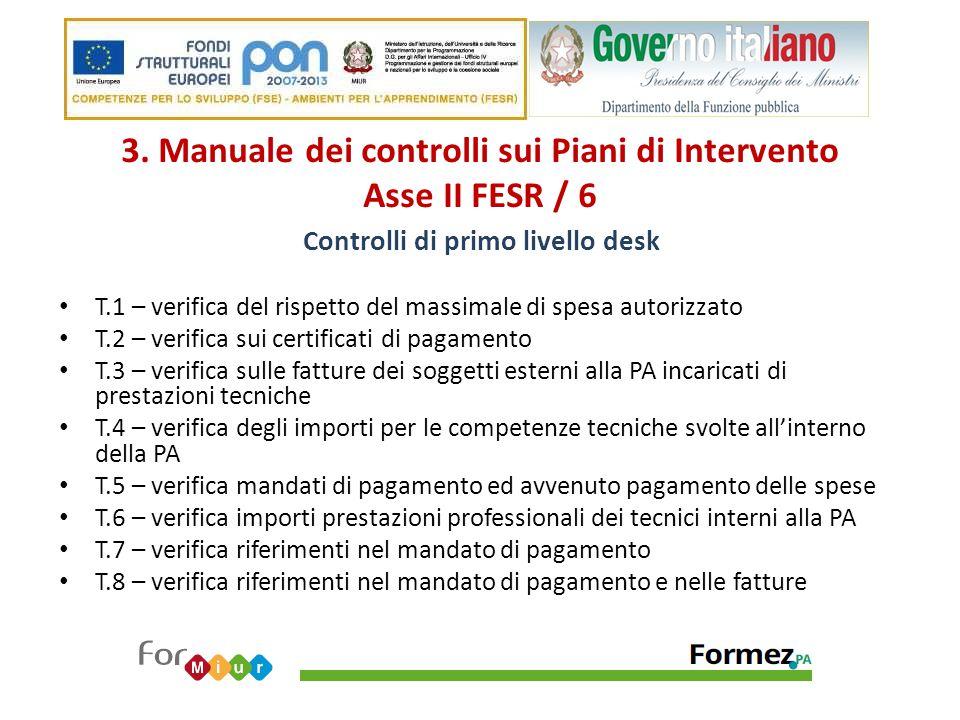 3. Manuale dei controlli sui Piani di Intervento Asse II FESR / 6