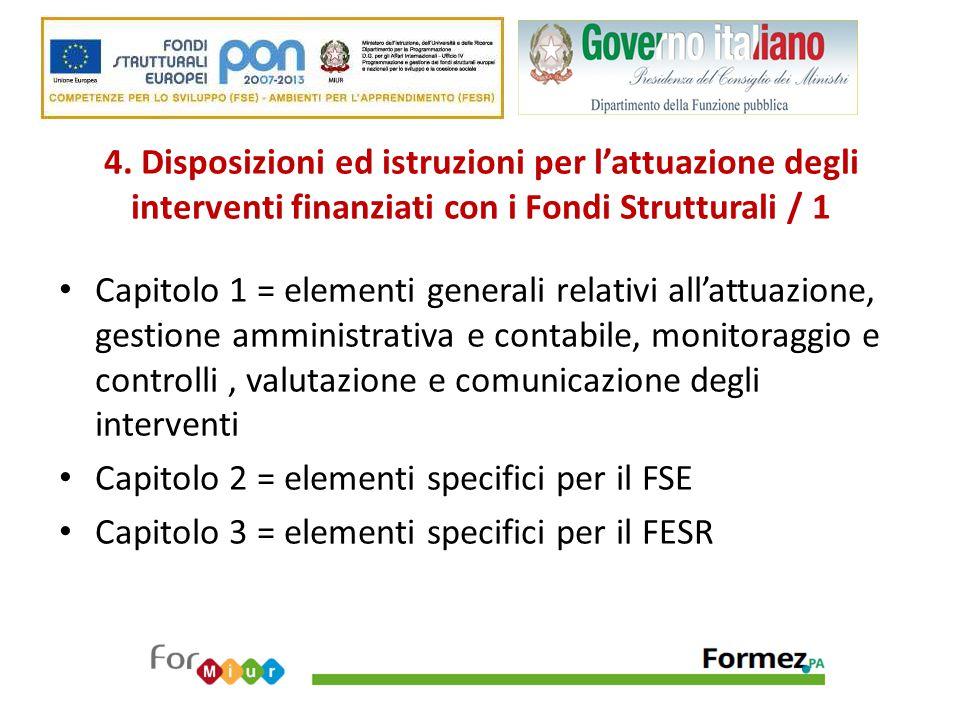 4. Disposizioni ed istruzioni per l'attuazione degli interventi finanziati con i Fondi Strutturali / 1