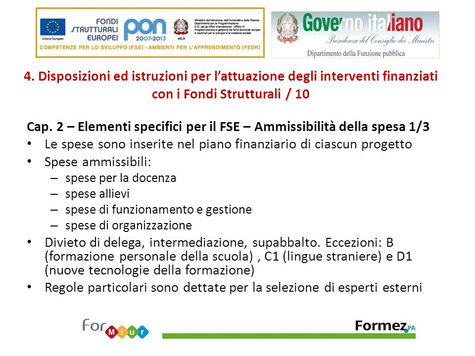 Cap. 2 – Elementi specifici per il FSE – Ammissibilità della spesa 1/3