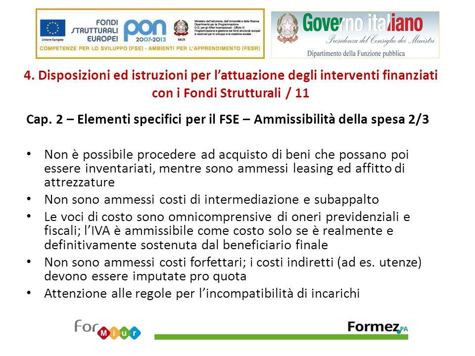 4. Disposizioni ed istruzioni per l'attuazione degli interventi finanziati con i Fondi Strutturali / 11