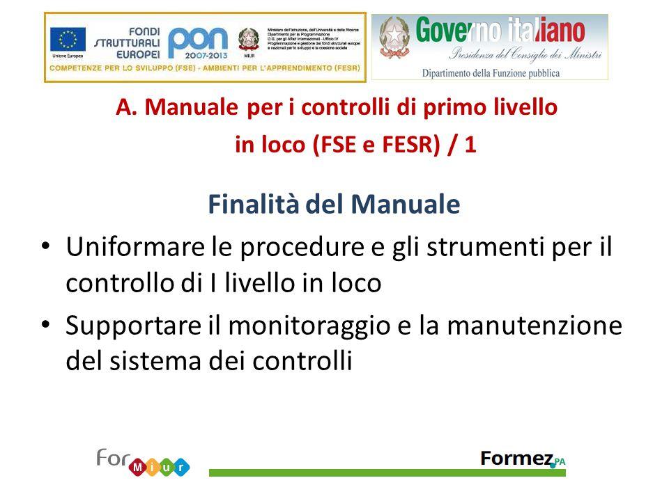 A. Manuale per i controlli di primo livello in loco (FSE e FESR) / 1