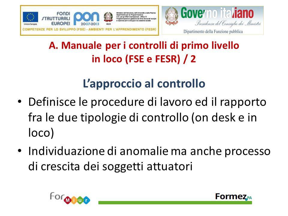 A. Manuale per i controlli di primo livello in loco (FSE e FESR) / 2