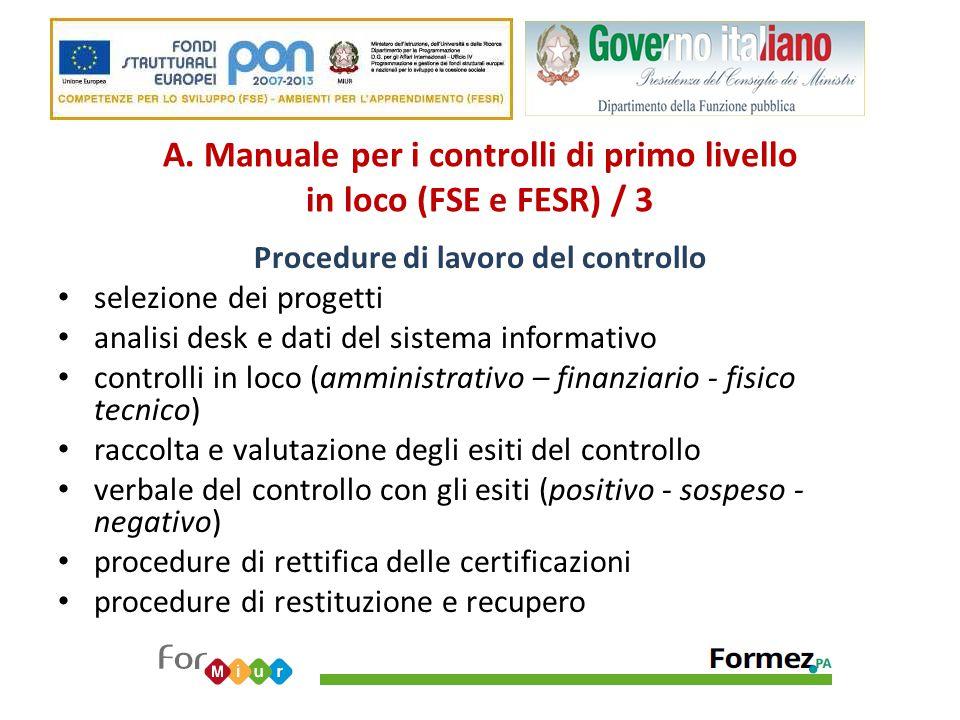 A. Manuale per i controlli di primo livello in loco (FSE e FESR) / 3