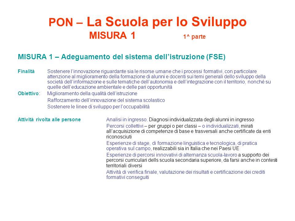 PON – La Scuola per lo Sviluppo MISURA 1 1^ parte