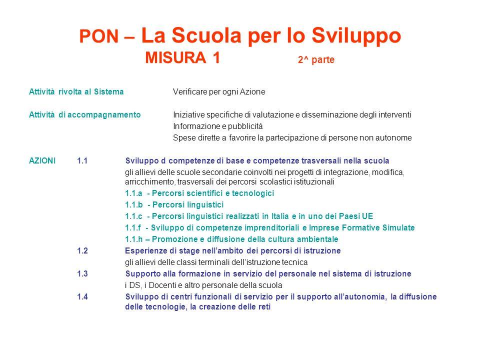 PON – La Scuola per lo Sviluppo MISURA 1 2^ parte