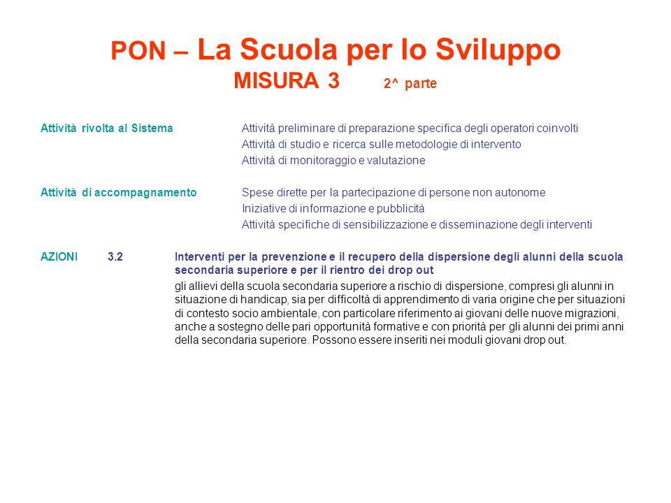 PON – La Scuola per lo Sviluppo MISURA 3 2^ parte