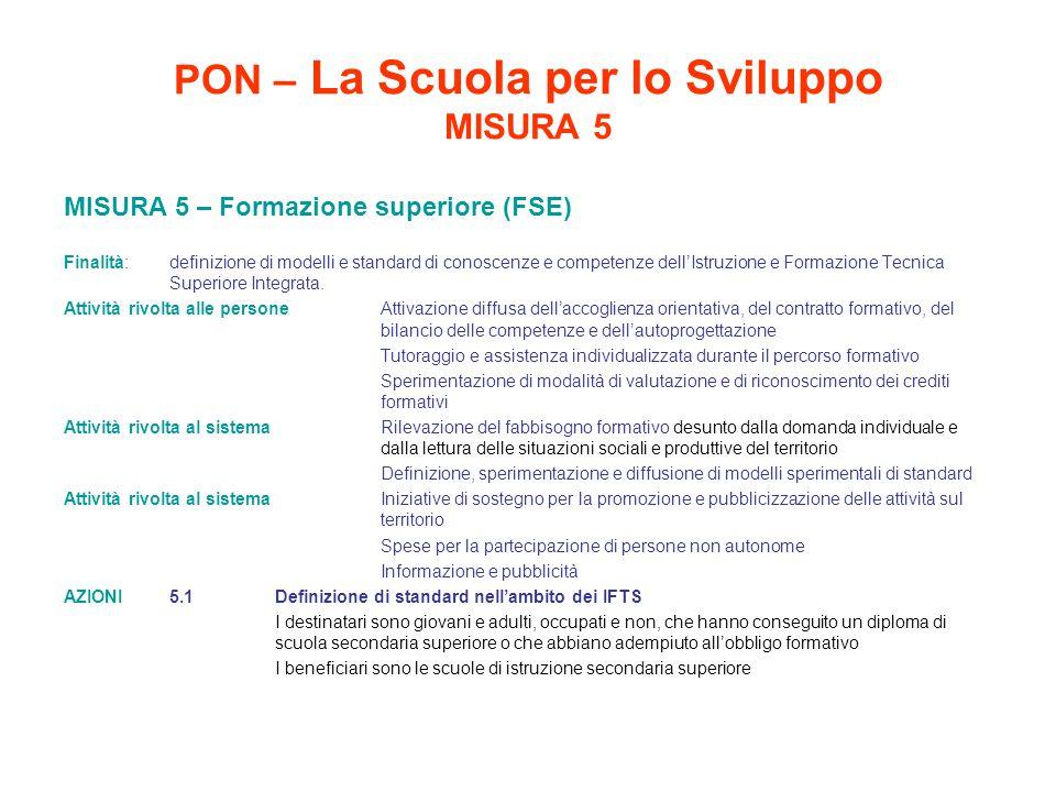 PON – La Scuola per lo Sviluppo MISURA 5