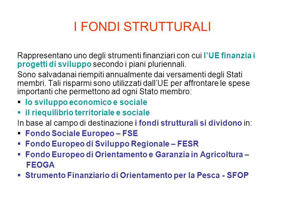 I FONDI STRUTTURALI Rappresentano uno degli strumenti finanziari con cui l'UE finanzia i progetti di sviluppo secondo i piani pluriennali.