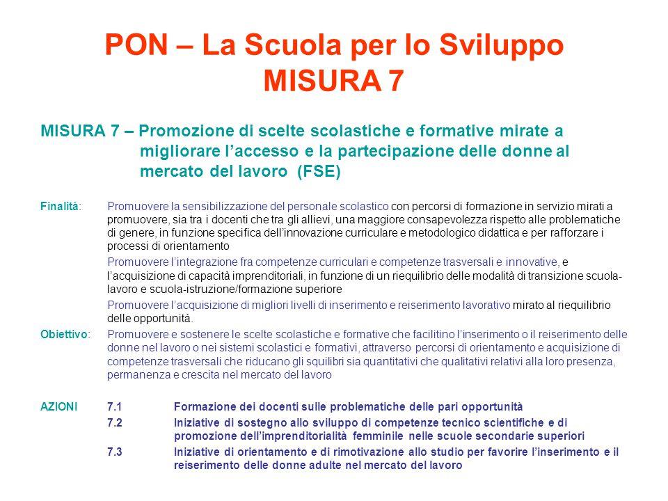 PON – La Scuola per lo Sviluppo MISURA 7