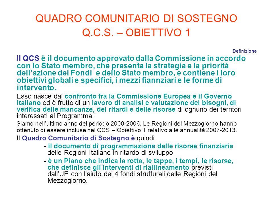 QUADRO COMUNITARIO DI SOSTEGNO Q.C.S. – OBIETTIVO 1