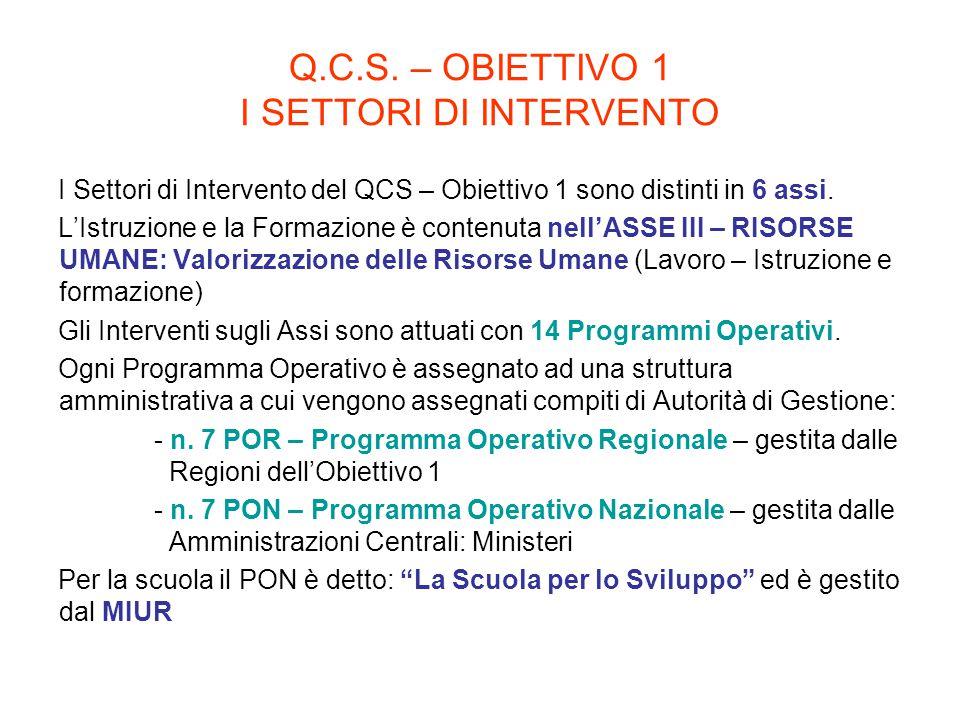Q.C.S. – OBIETTIVO 1 I SETTORI DI INTERVENTO