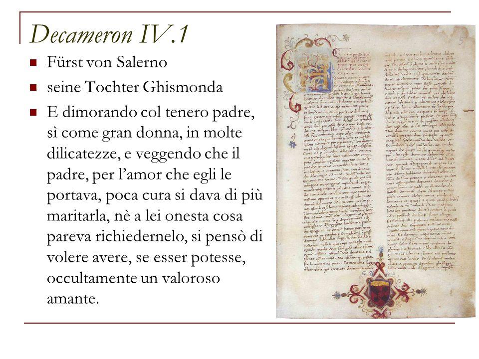 Decameron IV.1 Fürst von Salerno seine Tochter Ghismonda