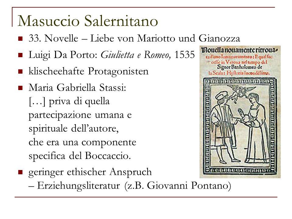 Masuccio Salernitano 33. Novelle – Liebe von Mariotto und Gianozza