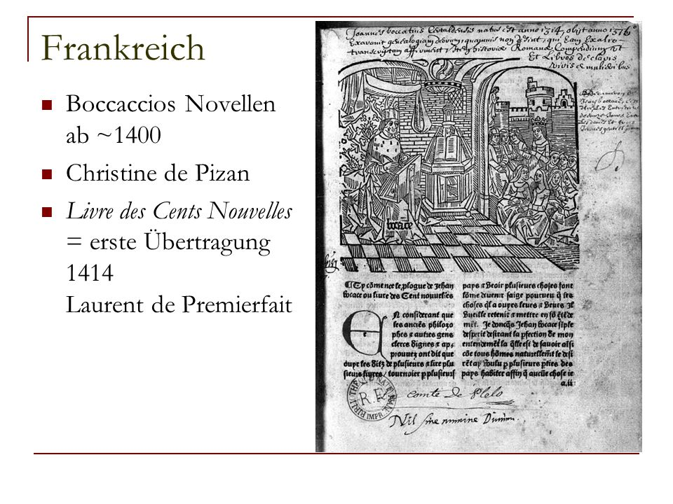 Frankreich Boccaccios Novellen ab ~1400 Christine de Pizan