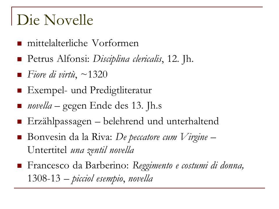 Die Novelle mittelalterliche Vorformen
