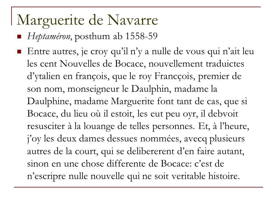 Marguerite de Navarre Heptaméron, posthum ab 1558-59