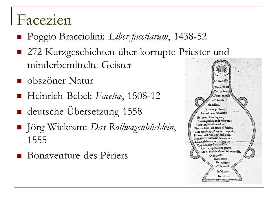Facezien Poggio Bracciolini: Liber facetiarum, 1438-52