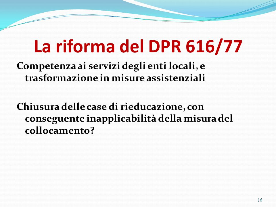 La riforma del DPR 616/77