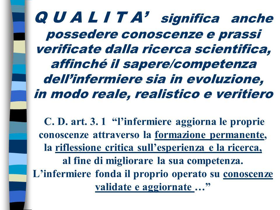 Q U A L I T A' significa anche possedere conoscenze e prassi verificate dalla ricerca scientifica, affinché il sapere/competenza dell'infermiere sia in evoluzione, in modo reale, realistico e veritiero C.