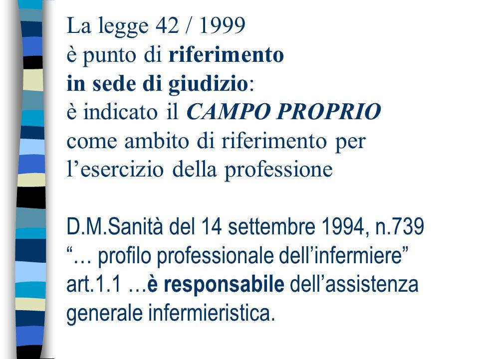 La legge 42 / 1999 è punto di riferimento in sede di giudizio: è indicato il CAMPO PROPRIO come ambito di riferimento per l'esercizio della professione D.M.Sanità del 14 settembre 1994, n.739 … profilo professionale dell'infermiere art.1.1 …è responsabile dell'assistenza generale infermieristica.