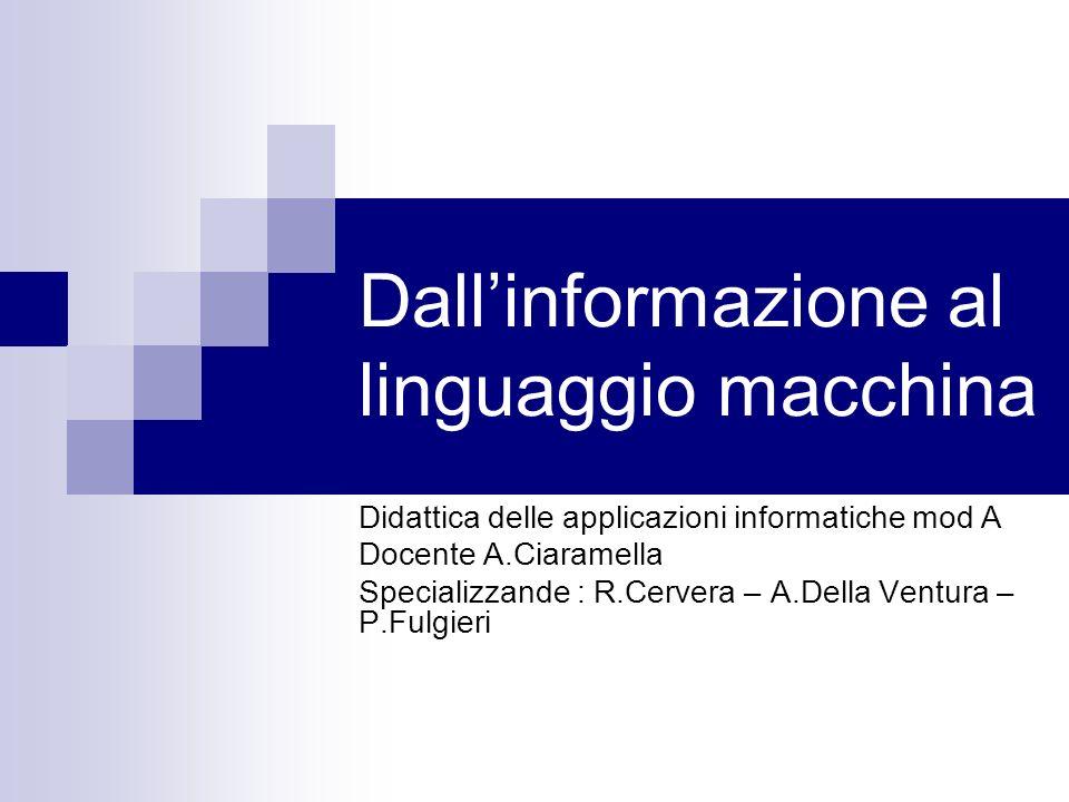Dall'informazione al linguaggio macchina