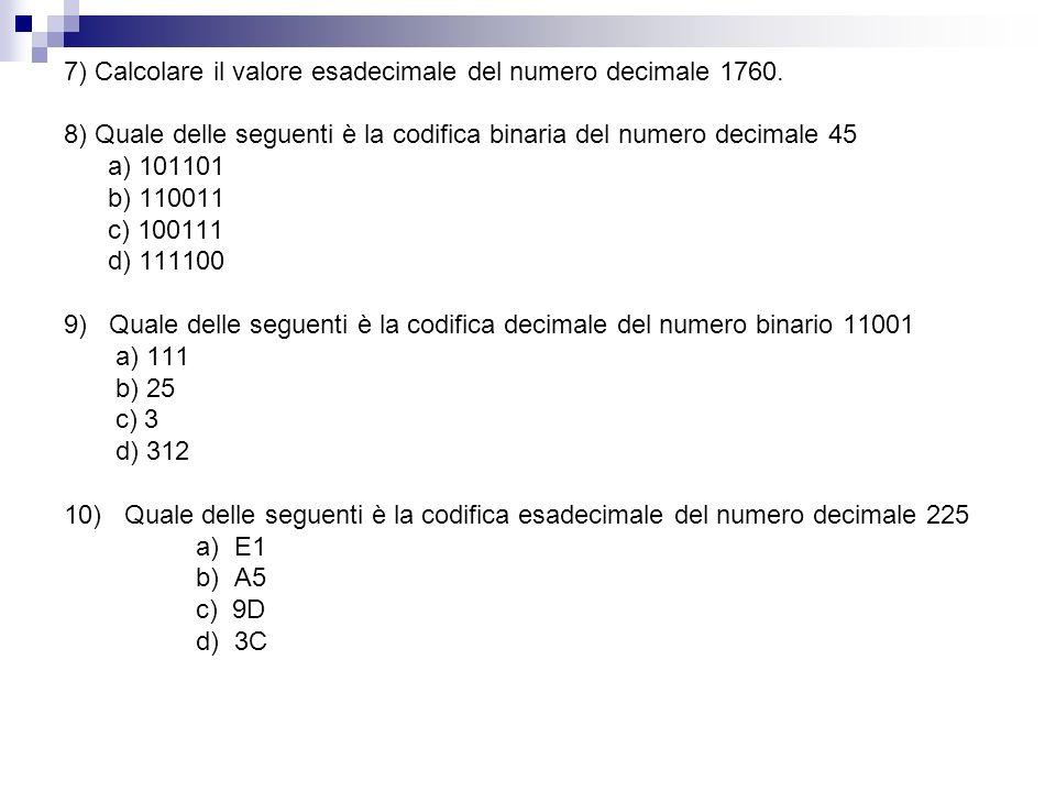 7) Calcolare il valore esadecimale del numero decimale 1760.