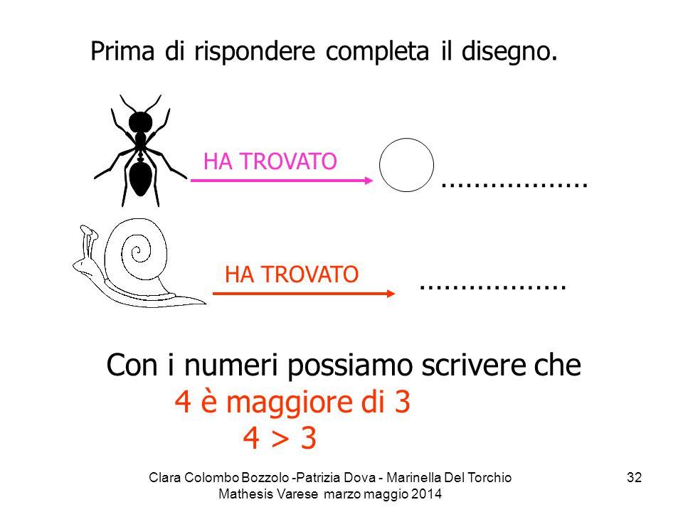 Con i numeri possiamo scrivere che 4 è maggiore di 3 4 > 3