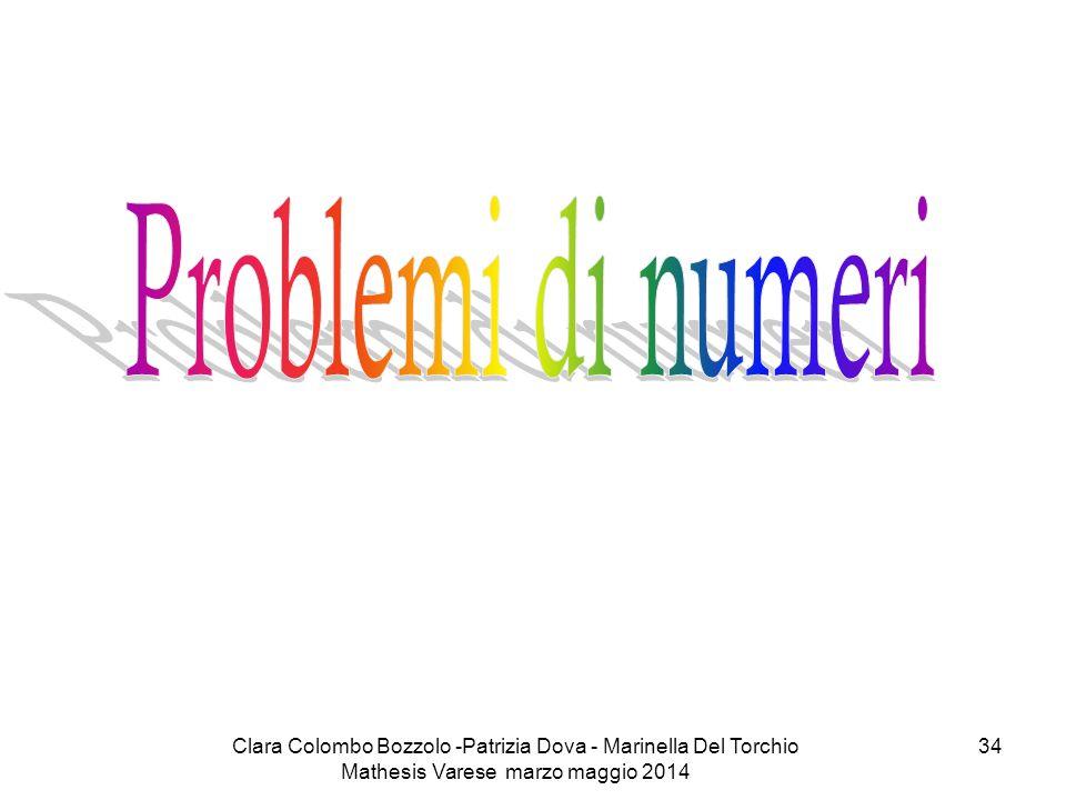 Problemi di numeri Clara Colombo Bozzolo -Patrizia Dova - Marinella Del Torchio Mathesis Varese marzo maggio 2014.