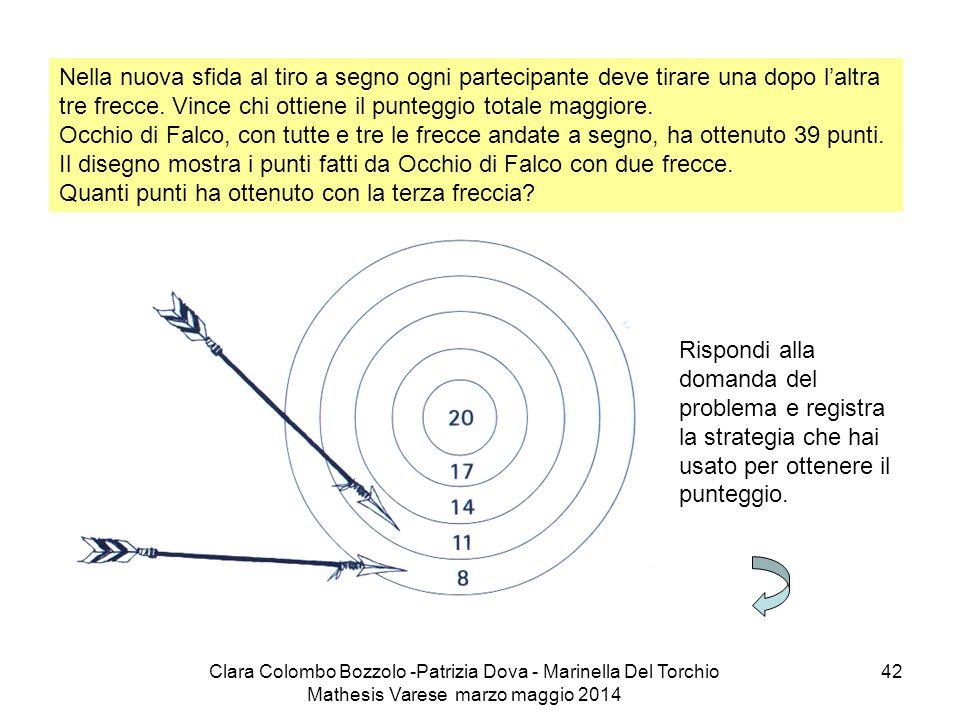 Il disegno mostra i punti fatti da Occhio di Falco con due frecce.
