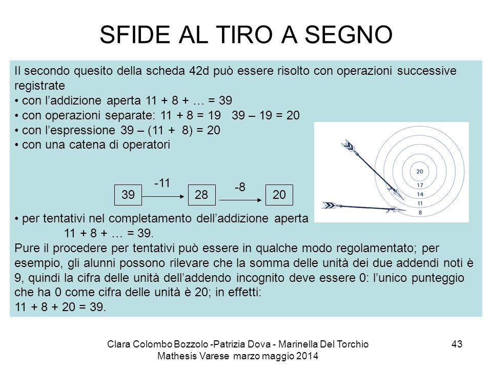 SFIDE AL TIRO A SEGNO Il secondo quesito della scheda 42d può essere risolto con operazioni successive registrate.
